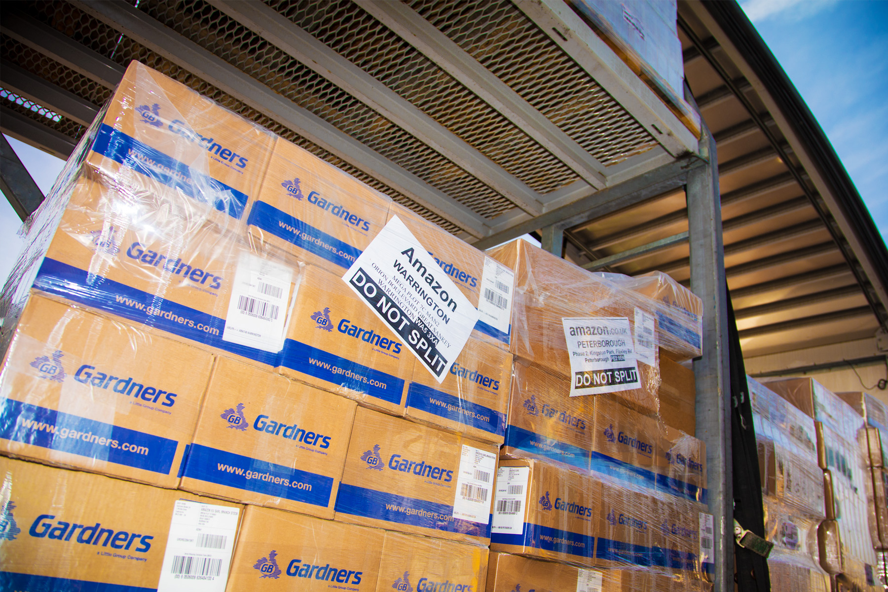 Amazon boxes getting packed onto the Tomsetts lorry ready for distribution to the UK and Europe.