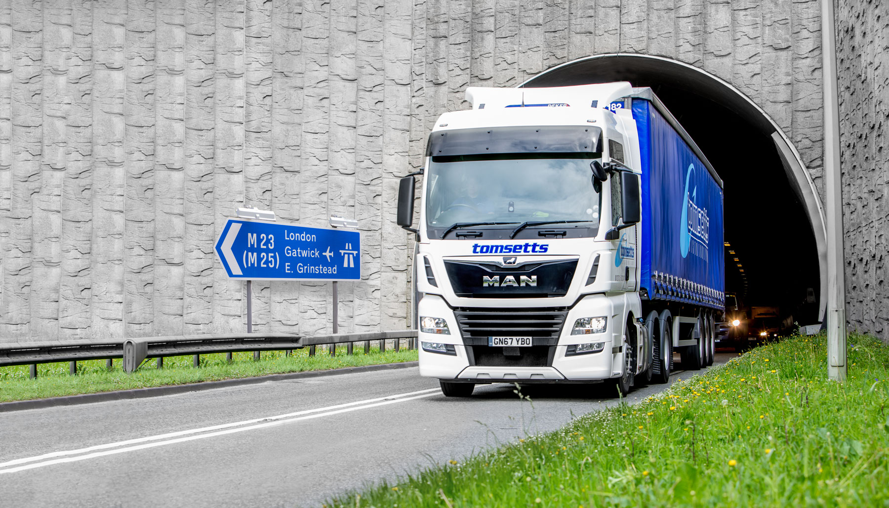 A Tomsetts pallet distribution lorry returning from Europe to Newhaven, UK.